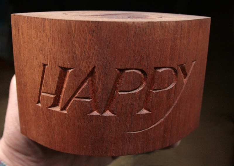 Birthday card in mahogany