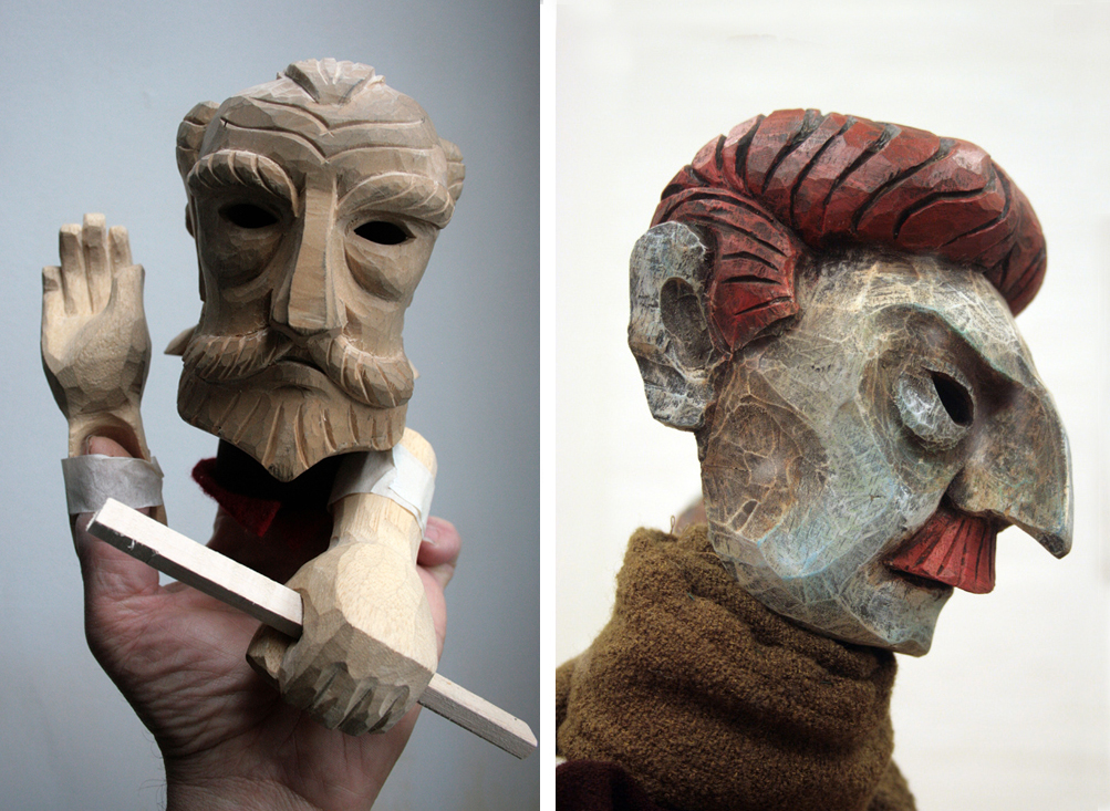 'The Double' for Peter Ustinov studio, Bath - puppet heads and hands carved by Jan Zalud from Lyndie Wright's design, painted and costumed by PuppetCraft