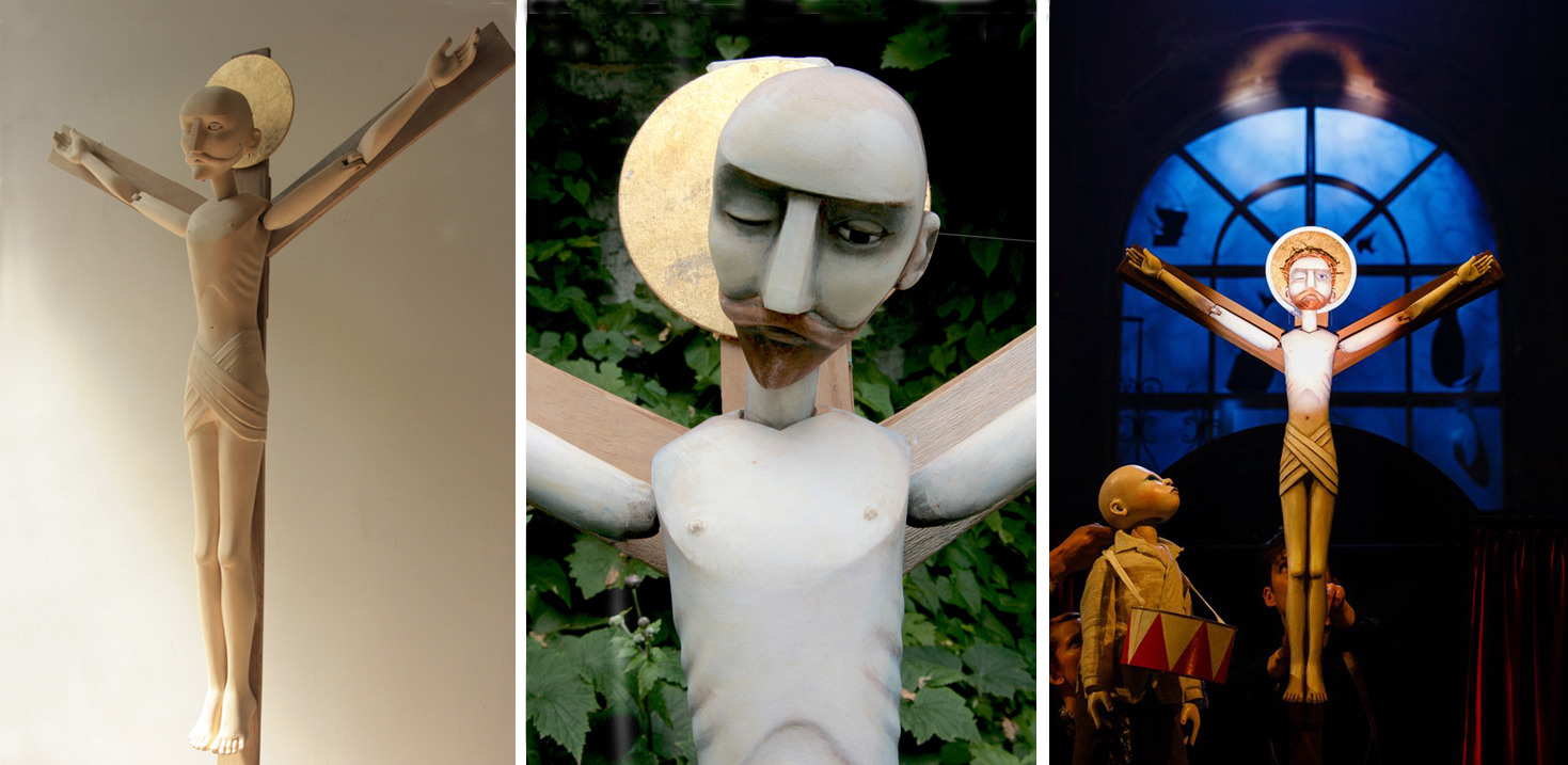 Jesus - carved by Jan Zalud, designed and painted by Lyndie Wright for Kneehigh Theatre's 'Tin Drum' - production photo by Steve Tanner.