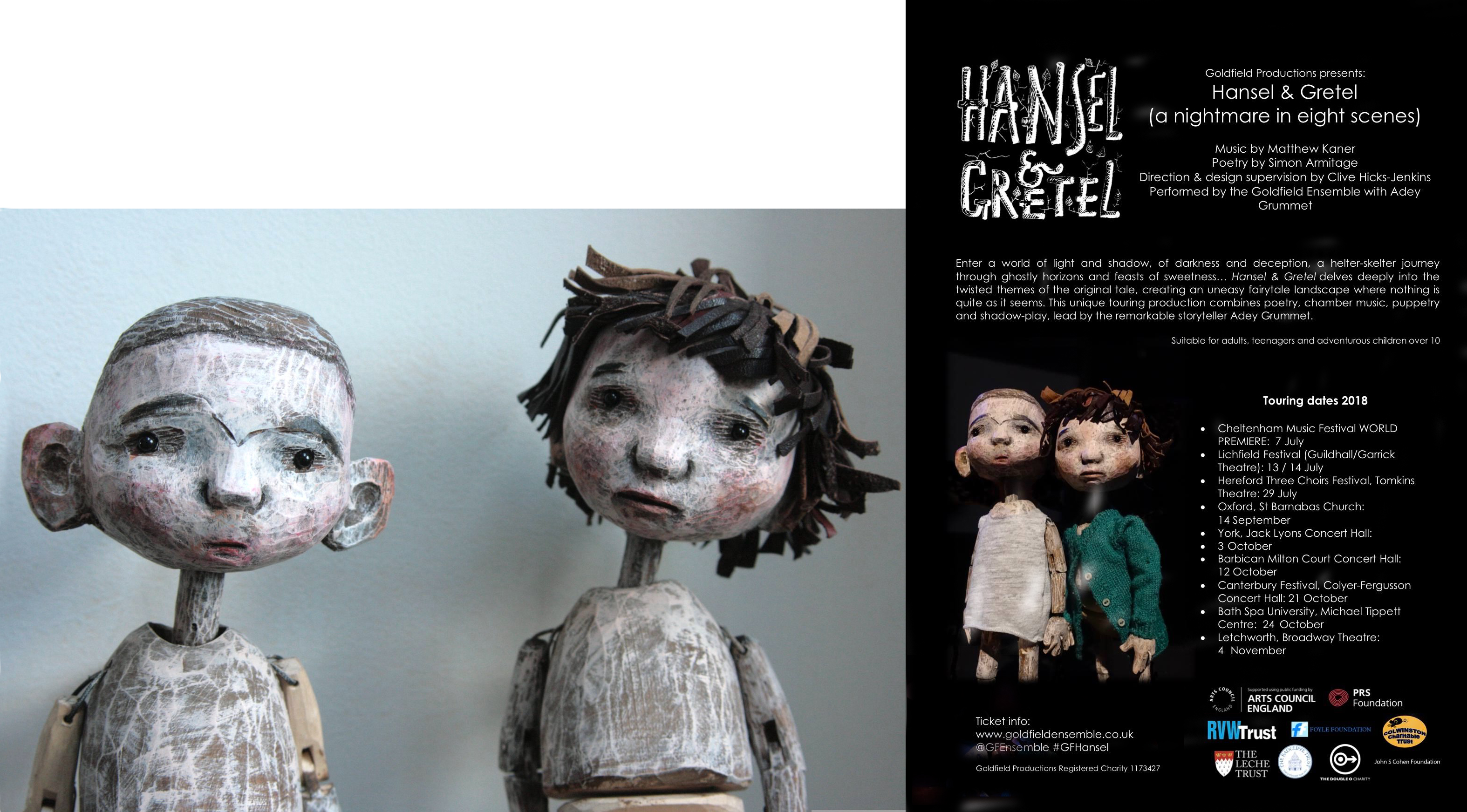'Hansel and Gretel' table top puppets made from Clive Hicks-Jenkins designs.