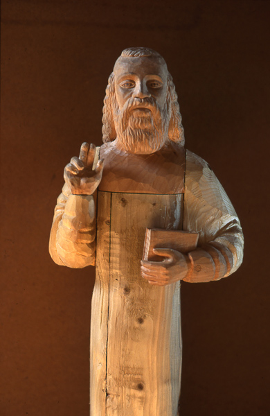 St Anthony - assorted woods. Carved for Tottering Bipeds theatre company.