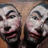 Victorian puppet heads re-carved. Original on the left, reproduction on the right. Carved by Jan Zalud, painted by Lyndie Wright.