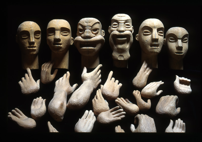Character heads and hands carved by Jan Zalud from Christopher Leith's designs for Little Angel's 'Philomen and Baucis'.