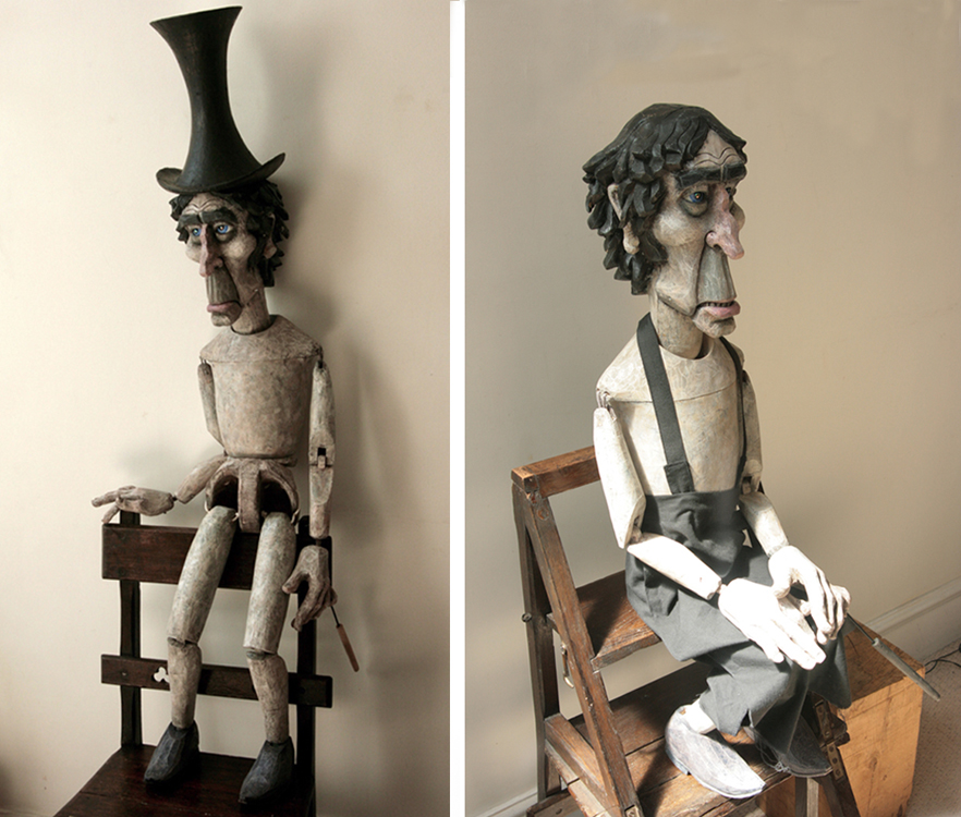 'Dudley' the undertaker- a ventriloquist puppet, carved and painted for Ben Steiner from the design by Mary Turner, costume by Needle & Thread.