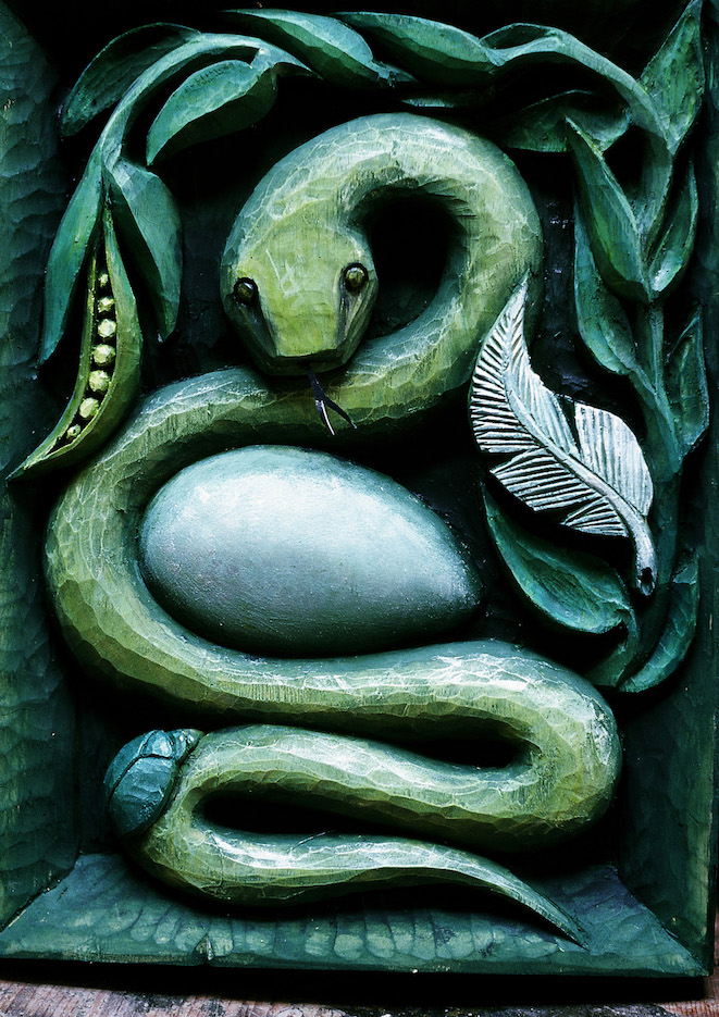 Snake Relief - carved from Lyndie Wright's design. Painted by Lyndie Wright